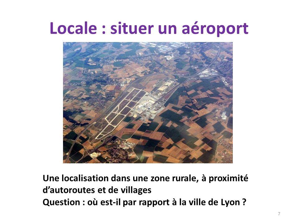 Locale : situer un aéroport 7 Une localisation dans une zone rurale, à proximité dautoroutes et de villages Question : où est-il par rapport à la vill