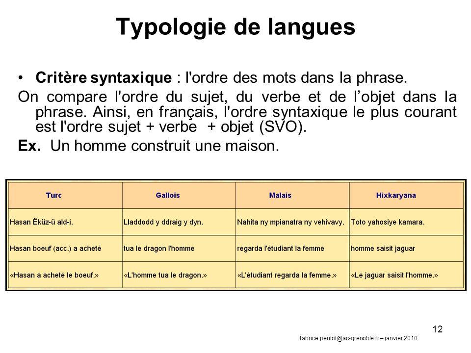 12 Typologie de langues Critère syntaxique : l ordre des mots dans la phrase.