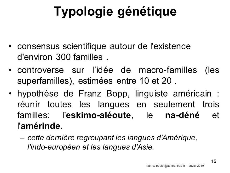 15 Typologie génétique consensus scientifique autour de l existence d environ 300 familles.