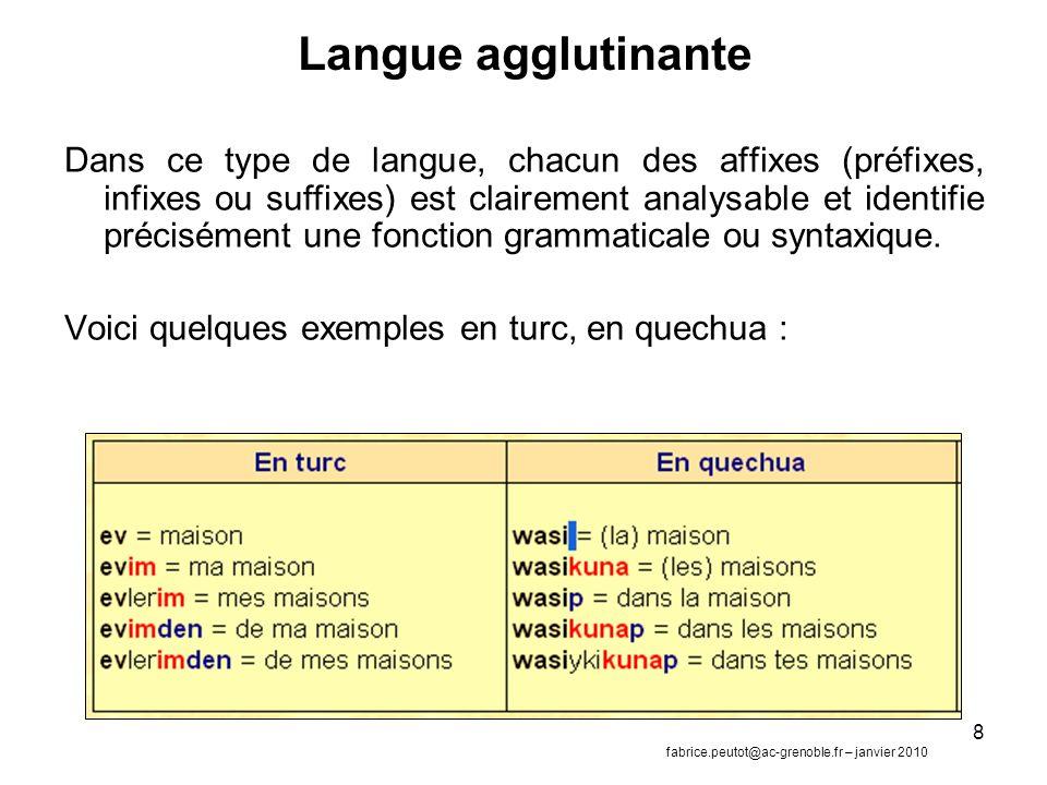 8 Langue agglutinante Dans ce type de langue, chacun des affixes (préfixes, infixes ou suffixes) est clairement analysable et identifie précisément une fonction grammaticale ou syntaxique.