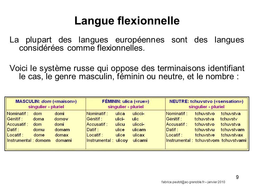 9 Langue flexionnelle La plupart des langues européennes sont des langues considérées comme flexionnelles.