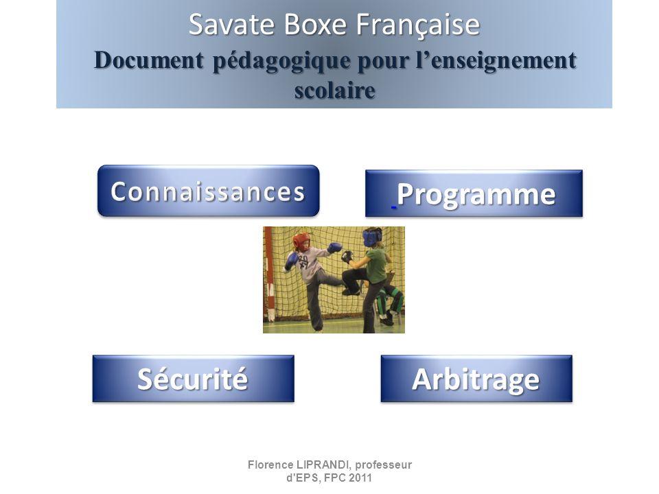 Programme Programme Programme Programme Savate Boxe Française Document pédagogique pour lenseignement scolaire Arbitrage Sécurité Florence LIPRANDI, p