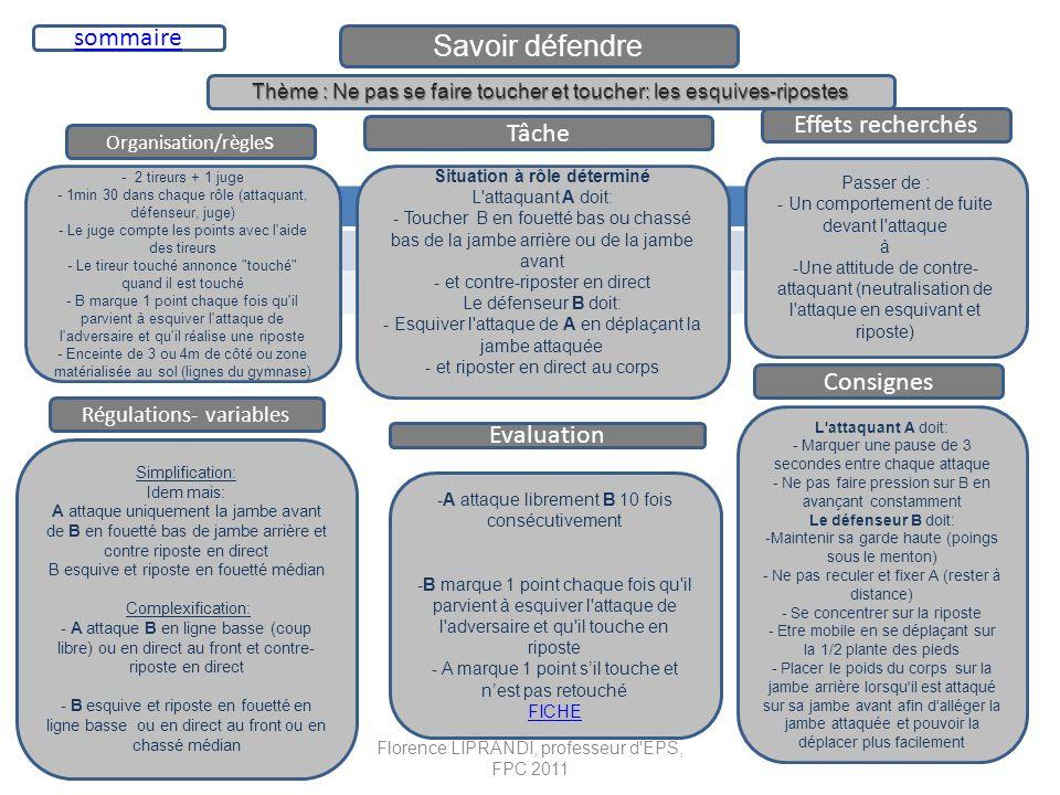Savoir défendre Organisation/règle s Tâche Effets recherchés - 2 tireurs + 1 juge - 1min 30 dans chaque rôle (attaquant, défenseur, juge) - Le juge co