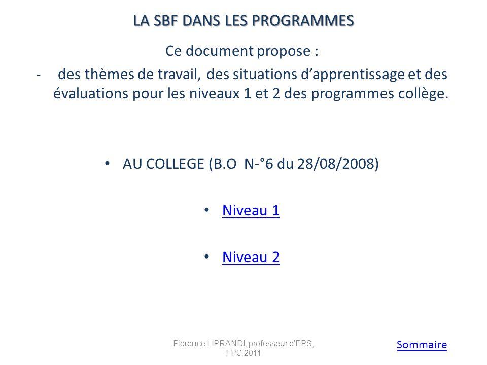 LA SBF DANS LES PROGRAMMES LA SBF DANS LES PROGRAMMES Ce document propose : - des thèmes de travail, des situations dapprentissage et des évaluations