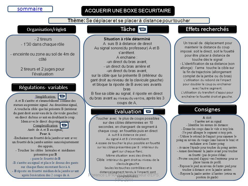 ACQUERIR UNE BOXE SECURITAIRE Organisation/règle s Tâche Effets recherchés - 2 tireurs - 1'30 dans chaque rôle - enceinte ou zone au sol de 4m de côté