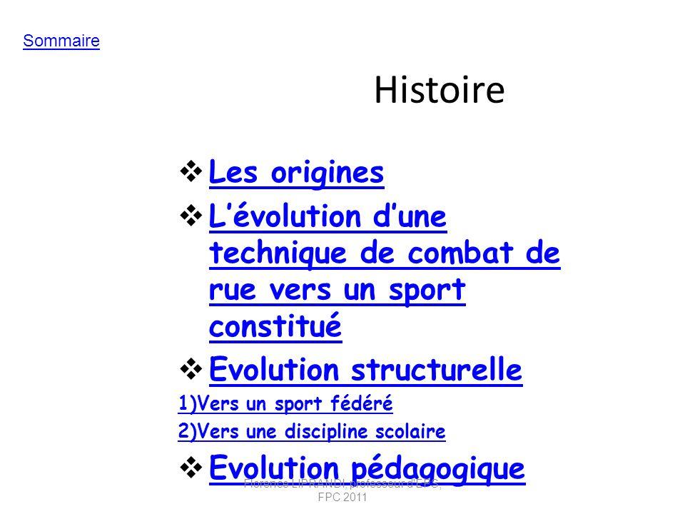 Histoire Les origines Lévolution dune technique de combat de rue vers un sport constitué Lévolution dune technique de combat de rue vers un sport cons