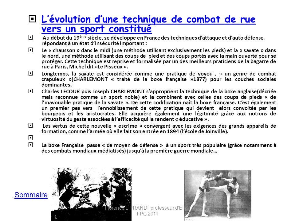 Lévolution dune technique de combat de rue vers un sport constitué Lévolution dune technique de combat de rue vers un sport constitué Au début du 19 è