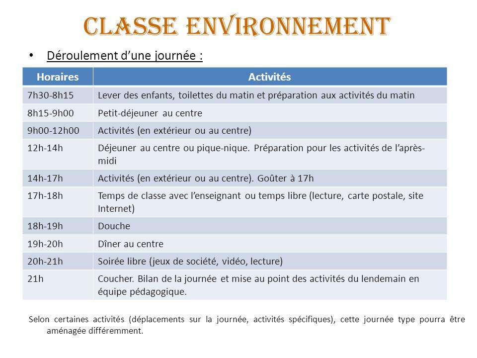 CLASSE ENVIRONNEMENT Déroulement dune journée : Selon certaines activités (déplacements sur la journée, activités spécifiques), cette journée type pou