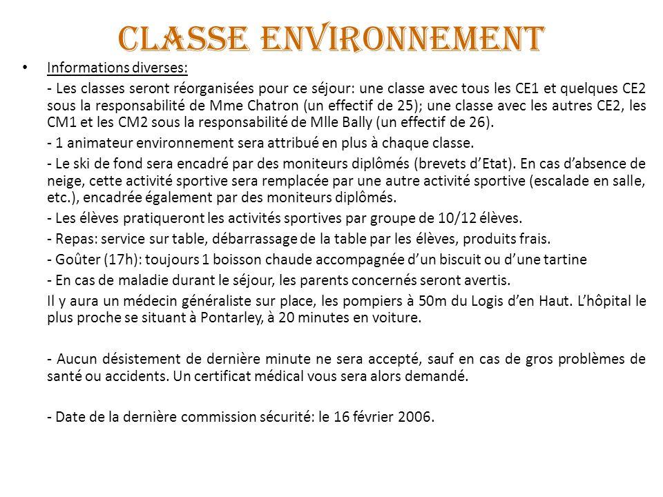 CLASSE ENVIRONNEMENT Informations diverses: - Les classes seront réorganisées pour ce séjour: une classe avec tous les CE1 et quelques CE2 sous la res