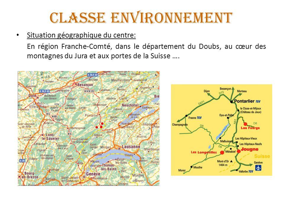 CLASSE ENVIRONNEMENT Situation géographique du centre: En région Franche-Comté, dans le département du Doubs, au cœur des montagnes du Jura et aux por