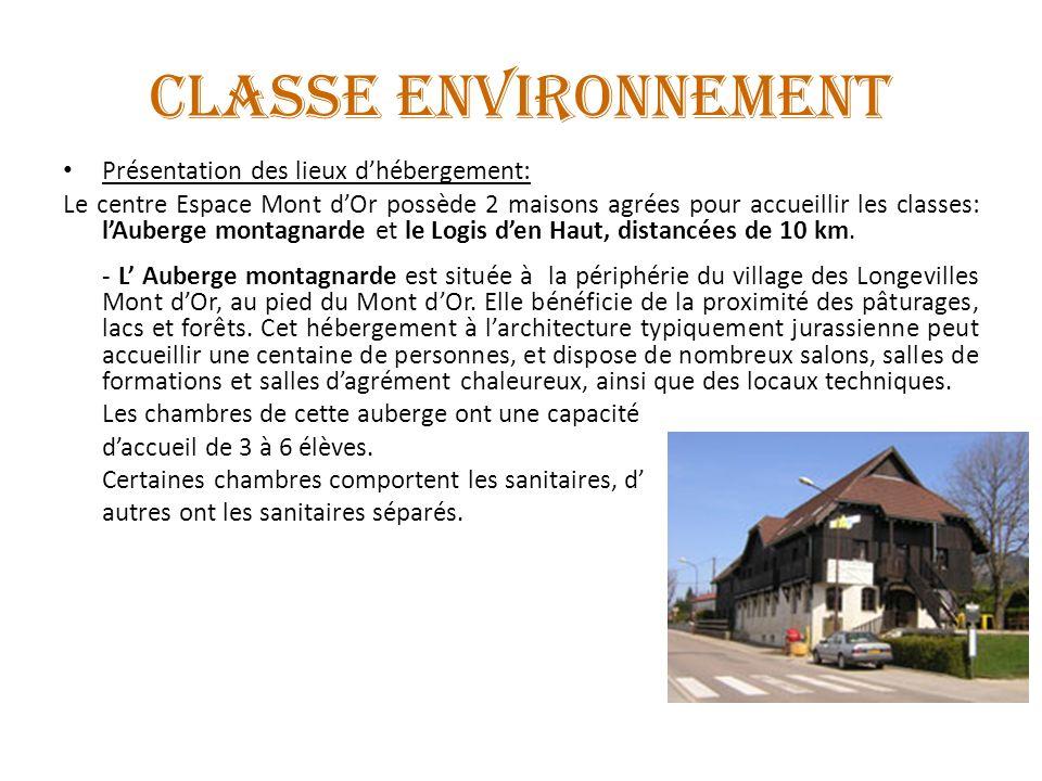 Présentation des lieux dhébergement: Le centre Espace Mont dOr possède 2 maisons agrées pour accueillir les classes: lAuberge montagnarde et le Logis