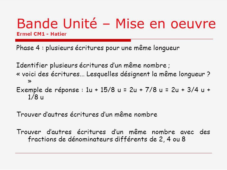 Bande Unité – Mise en oeuvre Ermel CM1 - Hatier Phase 4 : plusieurs écritures pour une même longueur Identifier plusieurs écritures dun même nombre ;