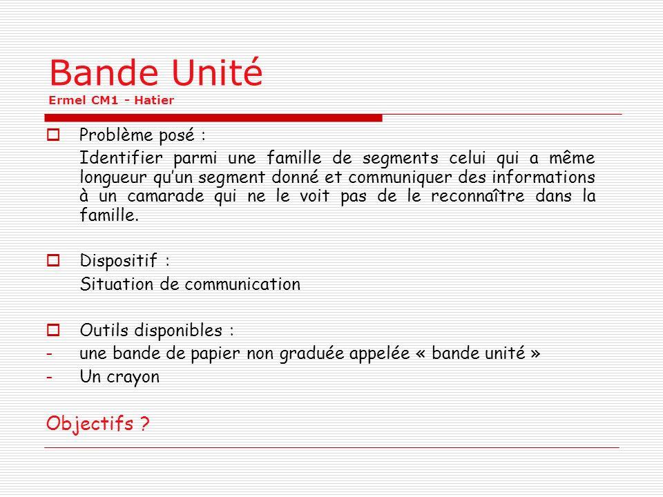 Bande Unité Ermel CM1 - Hatier Problème posé : Identifier parmi une famille de segments celui qui a même longueur quun segment donné et communiquer de