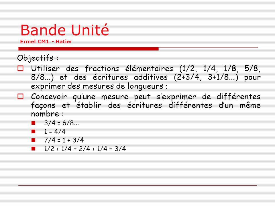 Bande Unité Ermel CM1 - Hatier Objectifs : Utiliser des fractions élémentaires (1/2, 1/4, 1/8, 5/8, 8/8...) et des écritures additives (2+3/4, 3+1/8..