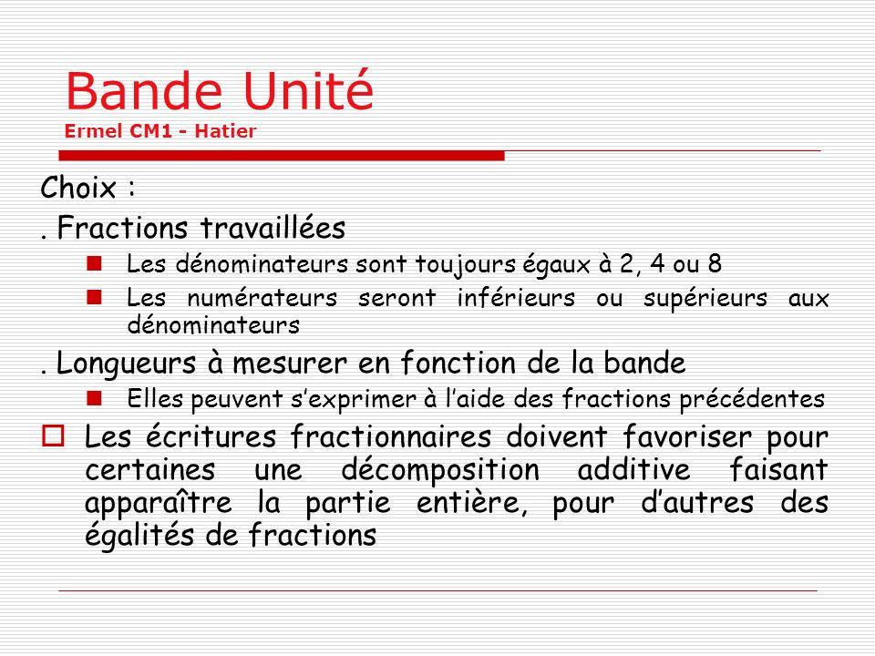 Bande Unité Ermel CM1 - Hatier Choix :. Fractions travaillées Les dénominateurs sont toujours égaux à 2, 4 ou 8 Les numérateurs seront inférieurs ou s