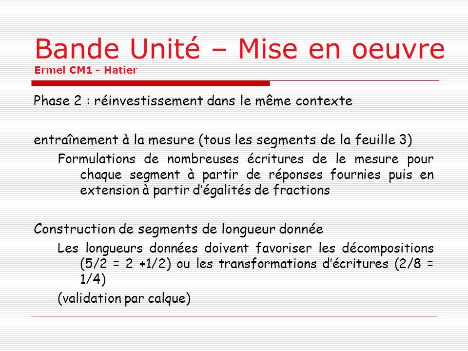 Bande Unité – Mise en oeuvre Ermel CM1 - Hatier Phase 2 : réinvestissement dans le même contexte entraînement à la mesure (tous les segments de la feu