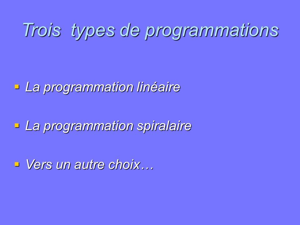 Trois types de programmations La programmation linéaire La programmation linéaire La programmation spiralaire La programmation spiralaire Vers un autr