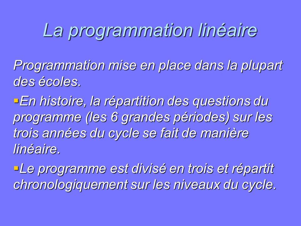 La programmation linéaire Programmation mise en place dans la plupart des écoles. En histoire, la répartition des questions du programme (les 6 grande