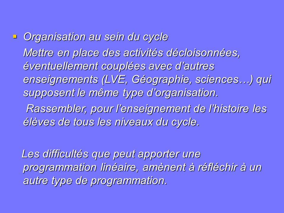 Organisation au sein du cycle Organisation au sein du cycle Mettre en place des activités décloisonnées, éventuellement couplées avec dautres enseigne