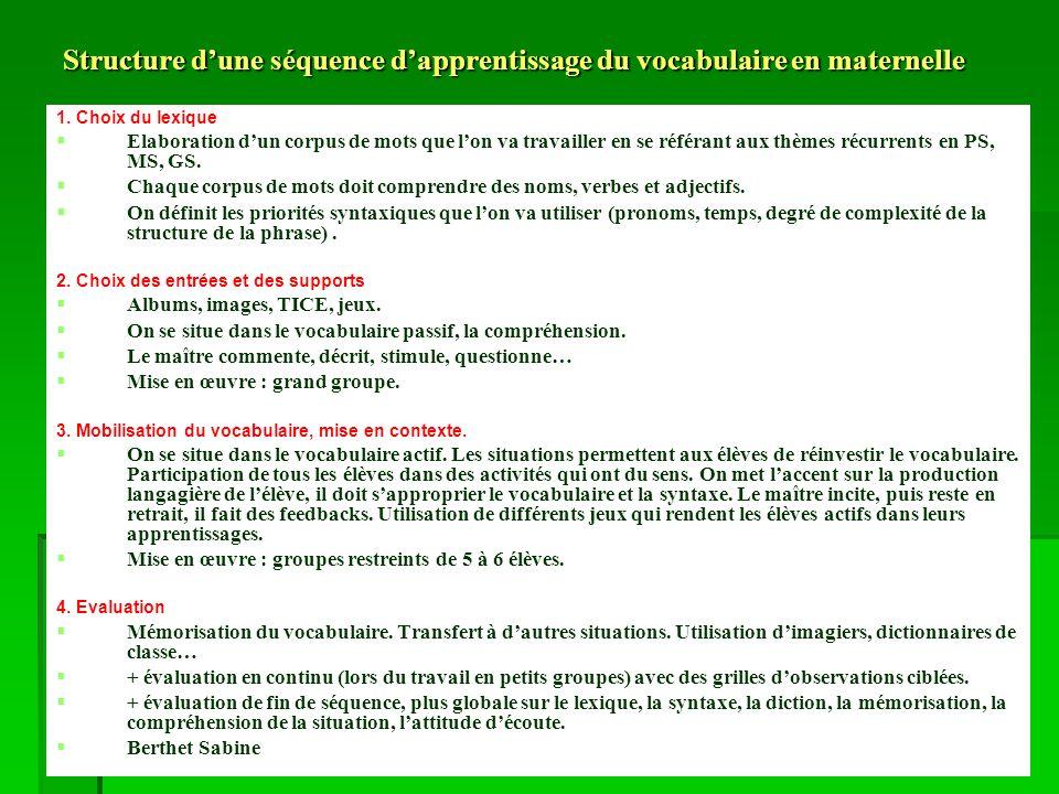 Structure dune séquence dapprentissage du vocabulaire en maternelle 1.