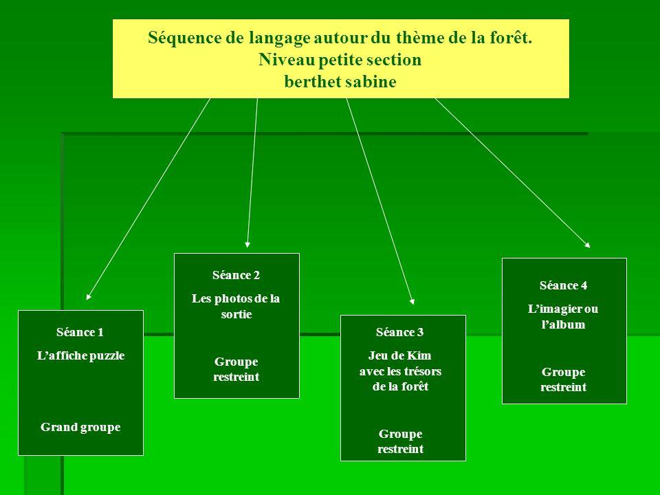 Séquence autour du thème de la forêt Petite Section Séance 1 berthet sabine Compétences travaillées: Comprendre, acquérir et utiliser un vocabulaire spécifique dans le domaine dun thème : la forêt.