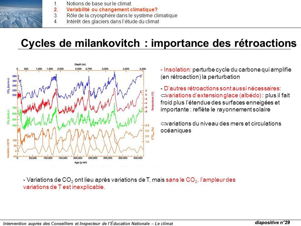 Cycles de milankovitch : importance des rétroactions - Insolation: perturbe cycle du carbone qui amplifie (en rétroaction) la perturbation - Dautres r