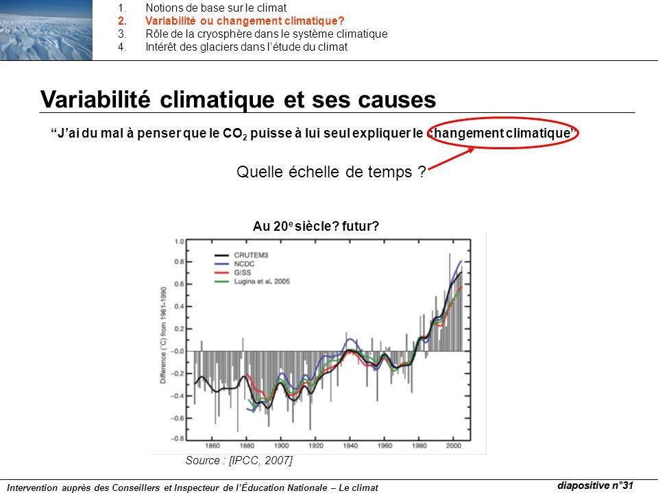 Jai du mal à penser que le CO 2 puisse à lui seul expliquer le changement climatique Quelle échelle de temps ? Au 20 e siècle? futur? Source : [IPCC,