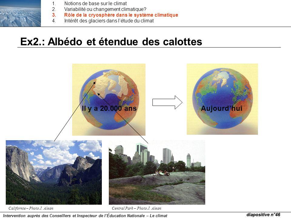 Ex2.: Albédo et étendue des calottes AujourdhuiIl y a 20.000 ans Californie – Photo J. AleanCentral Park – Photo J. Alean diapositive n°46 Interventio