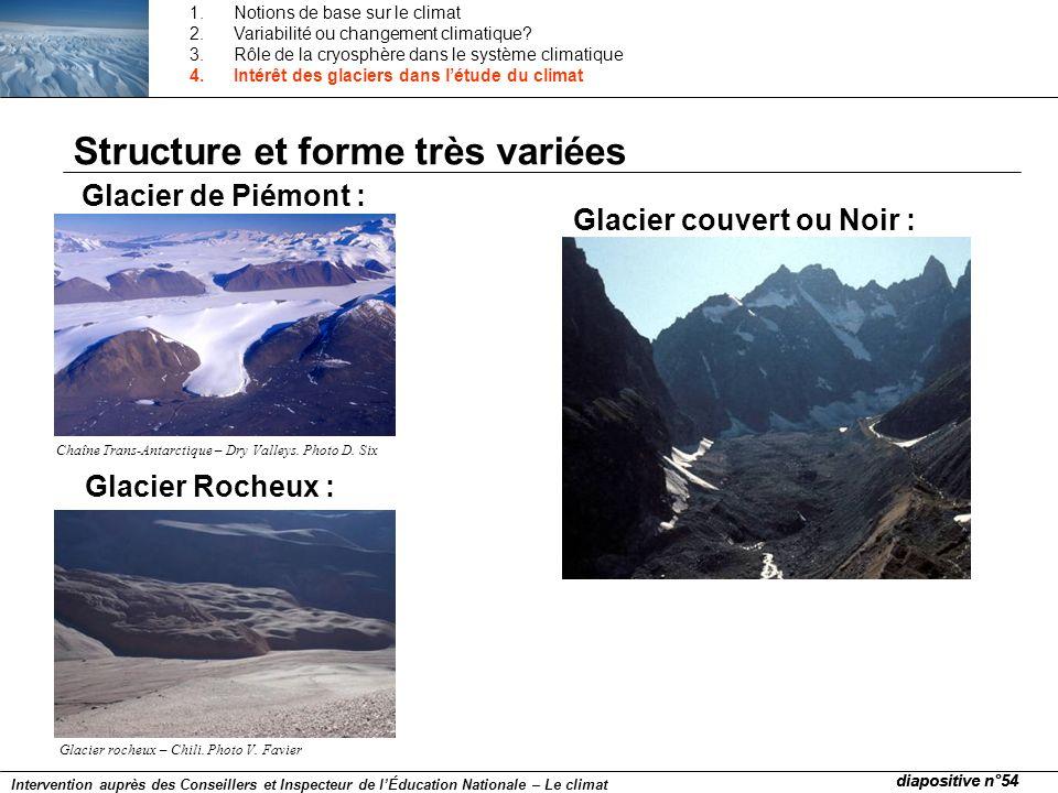 Glacier de Piémont : Glacier couvert ou Noir : Glacier Rocheux : Chaîne Trans-Antarctique – Dry Valleys. Photo D. Six Glacier rocheux – Chili. Photo V