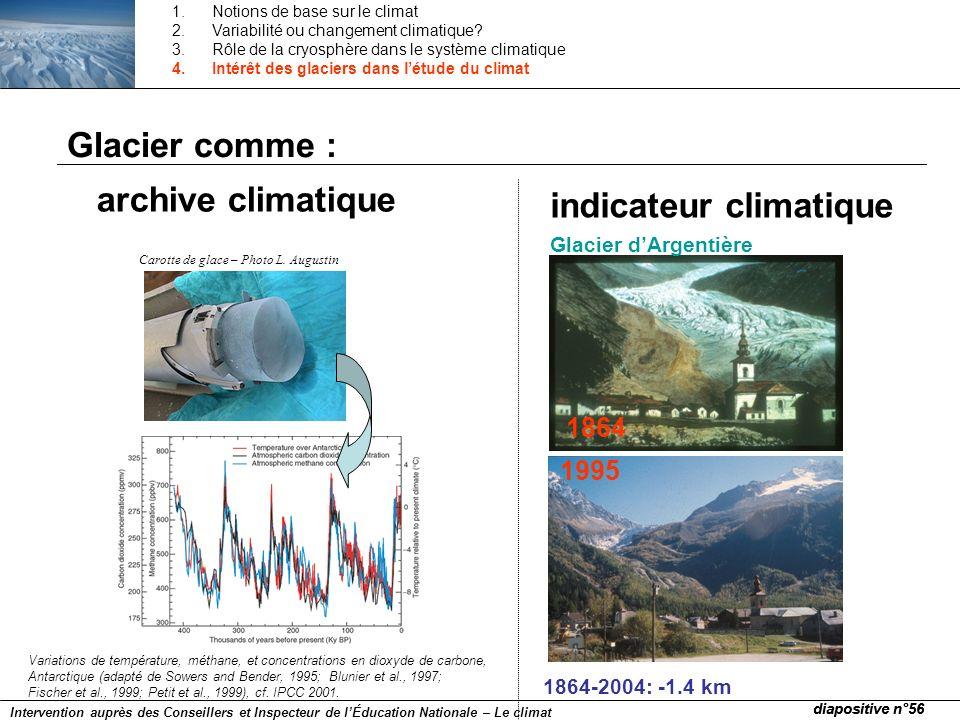 Carotte de glace – Photo L. Augustin 1995 1864 Variations de température, méthane, et concentrations en dioxyde de carbone, Antarctique (adapté de Sow