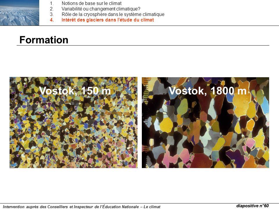 Vostok, 150 mVostok, 1800 m Formation diapositive n°60 Intervention auprès des Conseillers et Inspecteur de lÉducation Nationale – Le climat 1.Notions