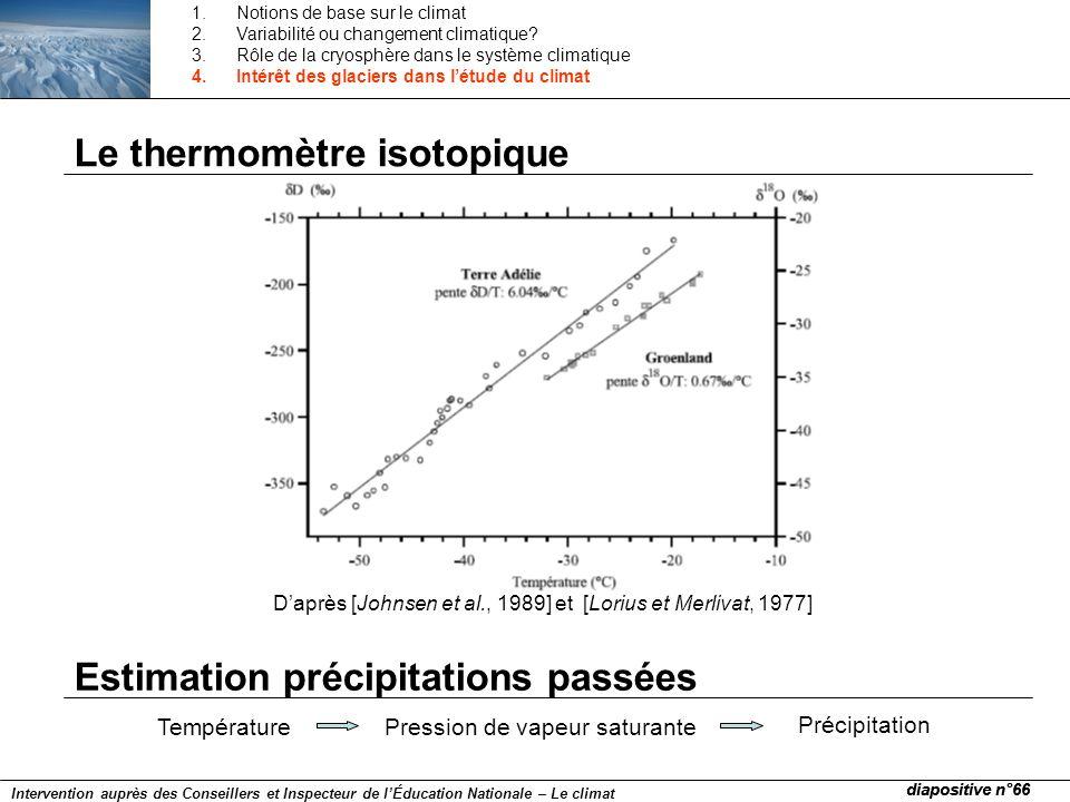 Le thermomètre isotopique Daprès [Johnsen et al., 1989] et [Lorius et Merlivat, 1977] TempératurePression de vapeur saturante Précipitation Estimation