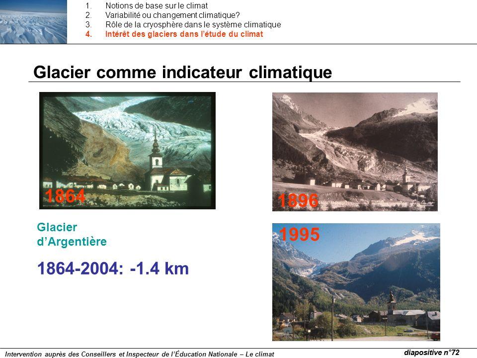 Glacier comme indicateur climatique 1864 1896 1995 Glacier dArgentière 1864-2004: -1.4 km diapositive n°72 Intervention auprès des Conseillers et Insp