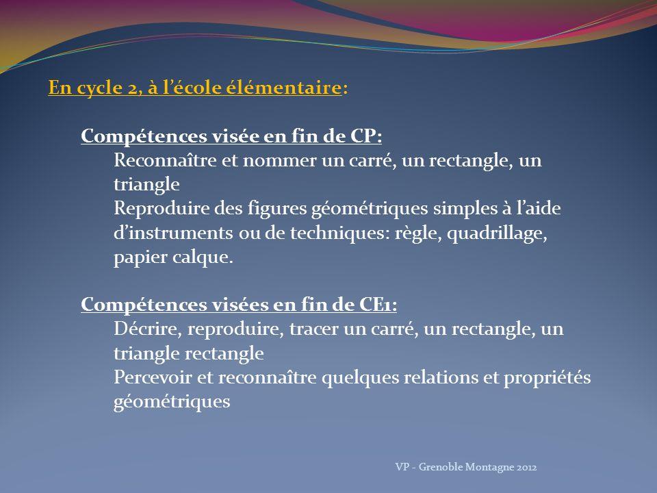 Reconnaître, nommer et décrire les figures planes et les solides usuels Utiliser la règle et léquerre pour tracer avec soin et précision un carré, un rectangle, un triangle rectangle Percevoir et reconnaître quelques relations et propriétés géométriques VP - Grenoble Montagne 2012