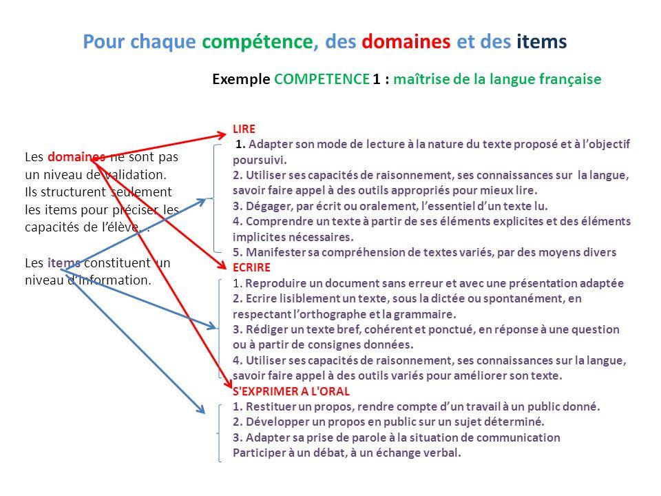 Les domaines ne sont pas un niveau de validation. Ils structurent seulement les items pour préciser les capacités de lélève.. Les items constituent un