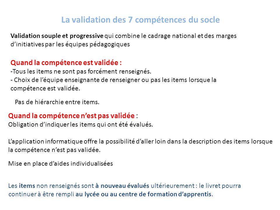 La validation des 7 compétences du socle Validation souple et progressive qui combine le cadrage national et des marges dinitiatives par les équipes p