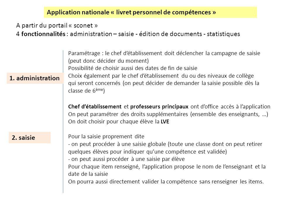 Application nationale « livret personnel de compétences » A partir du portail « sconet » 4 fonctionnalités : administration – saisie - édition de docu