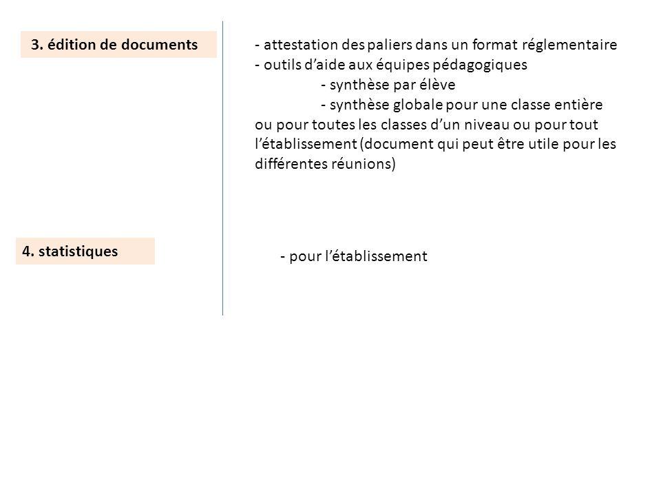 4. statistiques 3. édition de documents- attestation des paliers dans un format réglementaire - outils daide aux équipes pédagogiques - synthèse par é