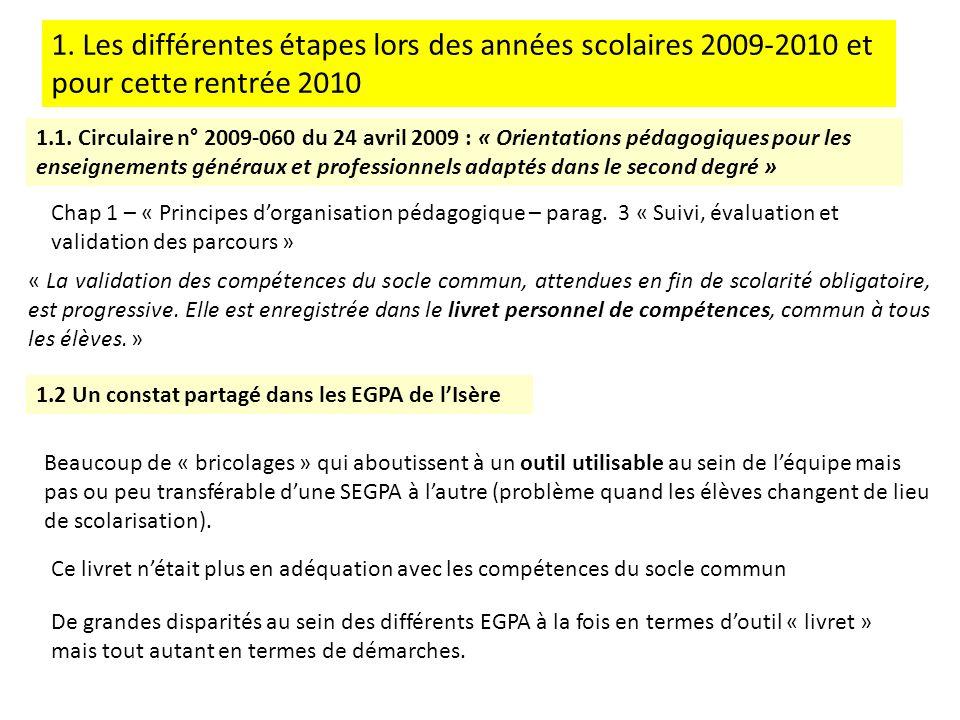 1. Les différentes étapes lors des années scolaires 2009-2010 et pour cette rentrée 2010 1.1. Circulaire n° 2009-060 du 24 avril 2009 : « Orientations