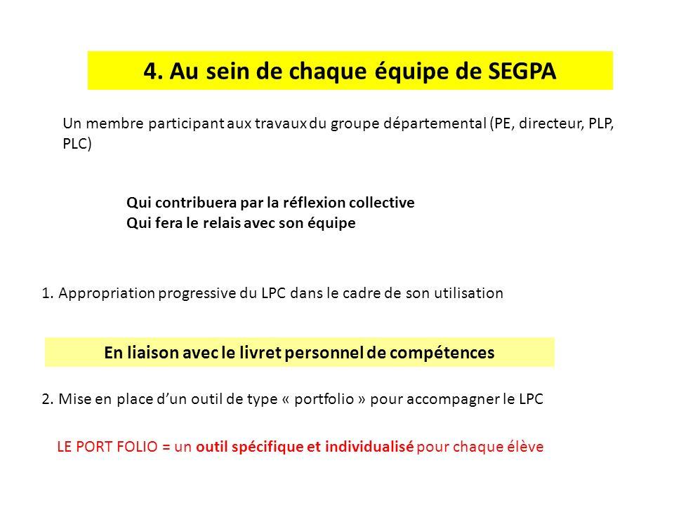 4. Au sein de chaque équipe de SEGPA 1. Appropriation progressive du LPC dans le cadre de son utilisation 2. Mise en place dun outil de type « portfol