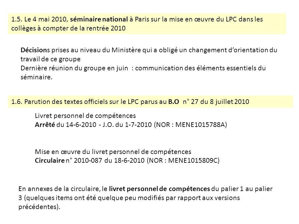 1.5. Le 4 mai 2010, séminaire national à Paris sur la mise en œuvre du LPC dans les collèges à compter de la rentrée 2010 Décisions prises au niveau d