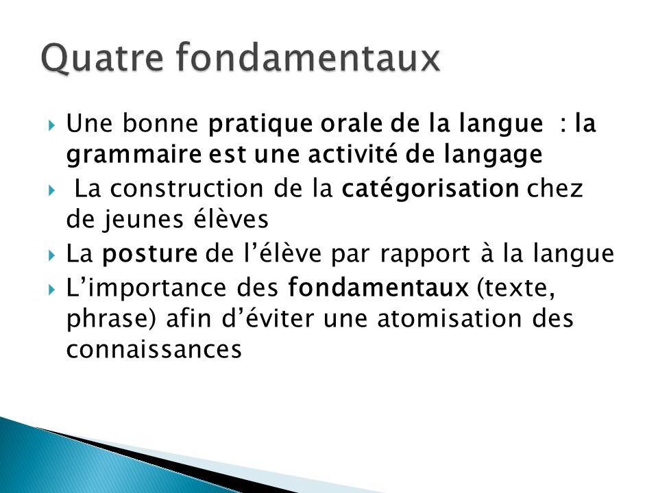 Une bonne pratique orale de la langue : la grammaire est une activité de langage La construction de la catégorisation chez de jeunes élèves La posture