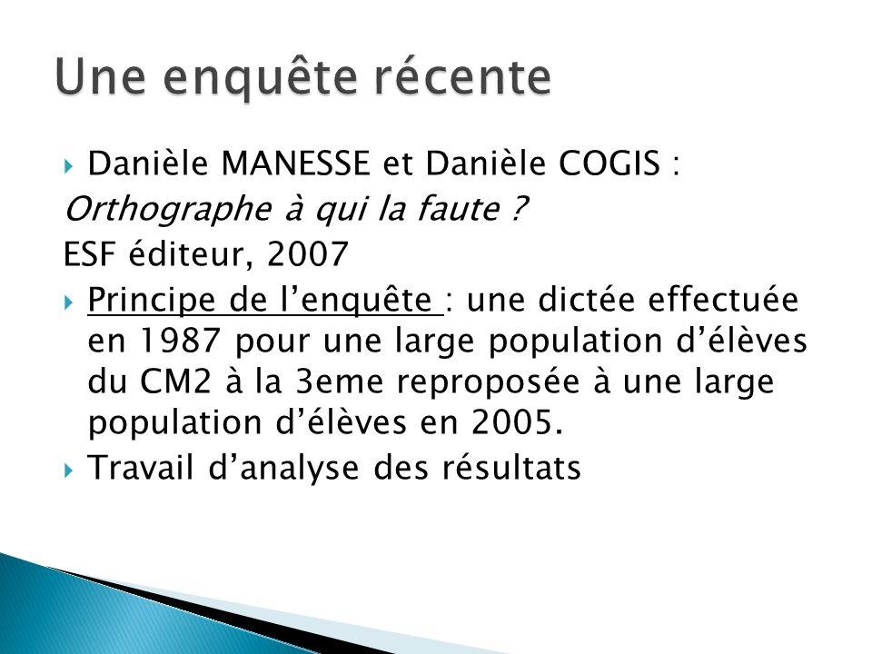 Danièle MANESSE et Danièle COGIS : Orthographe à qui la faute ? ESF éditeur, 2007 Principe de lenquête : une dictée effectuée en 1987 pour une large p