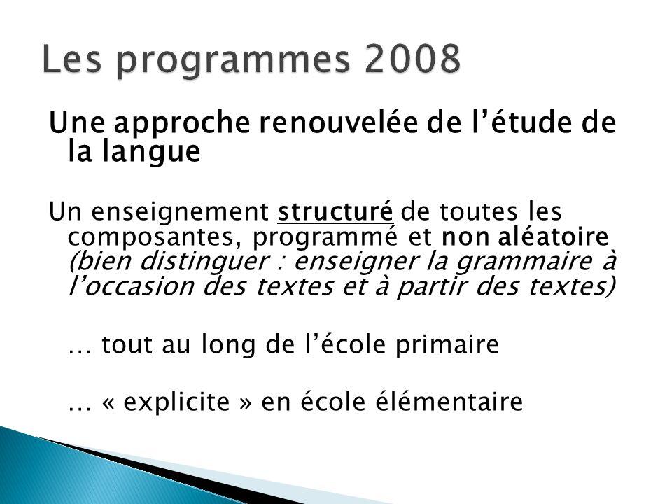 Une approche renouvelée de létude de la langue Un enseignement structuré de toutes les composantes, programmé et non aléatoire (bien distinguer : ense