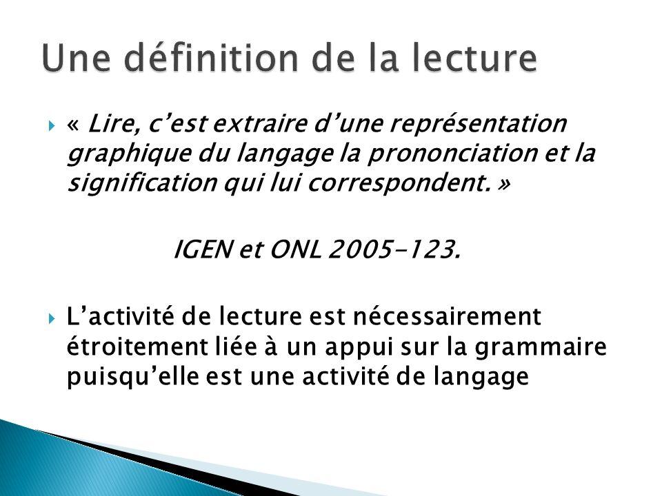« Lire, cest extraire dune représentation graphique du langage la prononciation et la signification qui lui correspondent. » IGEN et ONL 2005-123. Lac