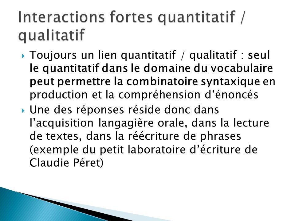 Toujours un lien quantitatif / qualitatif : seul le quantitatif dans le domaine du vocabulaire peut permettre la combinatoire syntaxique en production