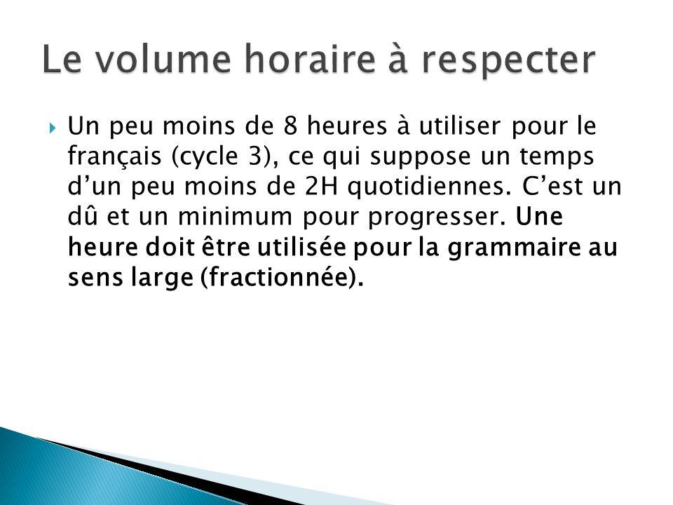 Un peu moins de 8 heures à utiliser pour le français (cycle 3), ce qui suppose un temps dun peu moins de 2H quotidiennes. Cest un dû et un minimum pou