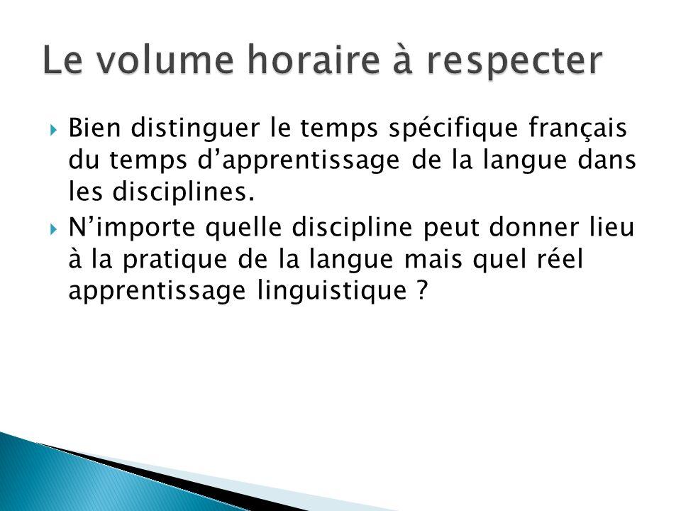 Bien distinguer le temps spécifique français du temps dapprentissage de la langue dans les disciplines. Nimporte quelle discipline peut donner lieu à