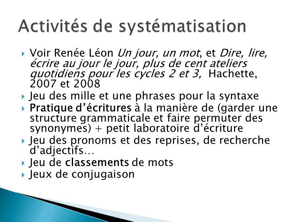 Voir Renée Léon Un jour, un mot, et Dire, lire, écrire au jour le jour, plus de cent ateliers quotidiens pour les cycles 2 et 3, Hachette, 2007 et 200