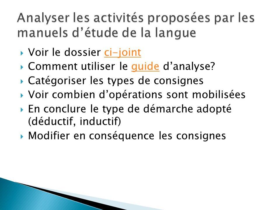 Voir le dossier ci-jointci-joint Comment utiliser le guide danalyse?guide Catégoriser les types de consignes Voir combien dopérations sont mobilisées